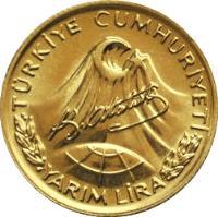 obverse of 1/2 Lira - Atatürk (1981) coin with KM# 941a from Turkey. Inscription: TÜRKİYE CUMHURİYETİ YARIM LİRA