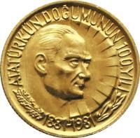 reverse of 1/2 Lira - Atatürk (1981) coin with KM# 941a from Turkey. Inscription: ATATÜRK'ÜN DOĞUMUNUN 100.YILI 1881-1981