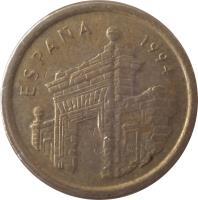 obverse of 5 Pesetas - Juan Carlos I - Aragon (1994) coin with KM# 931 from Spain. Inscription: espana 1994