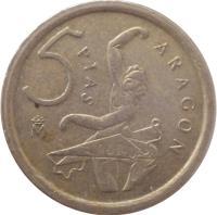 reverse of 5 Pesetas - Juan Carlos I - Aragon (1994) coin with KM# 931 from Spain. Inscription: ARAGON 5 ptas