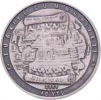 reverse of 40 Yeni Lira - The Silk Road (2008) coin with KM# 1236 from Turkey. Inscription: TÜRKİYE CUMHURİYETİ SILK ROAD 2008 40 YTL