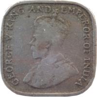obverse of 5 Cents - George V (1912 - 1926) coin with KM# 108 from Ceylon. Inscription: GEORGE V KING AND EMPEROR OF INDIA