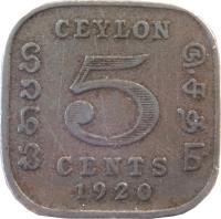reverse of 5 Cents - George V (1912 - 1926) coin with KM# 108 from Ceylon. Inscription: CEYLON 5 CENTS 1920