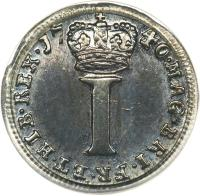 reverse of 1 Penny - George II - Maundy Coinage (1729 - 1760) coin with KM# 567 from United Kingdom. Inscription: MAG · BRI · FR · ET · HIB · REX · 17 40 · I