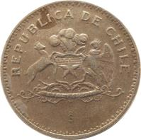 obverse of 100 Pesos (1981 - 2000) coin with KM# 226 from Chile. Inscription: REPUBLICA DE CHILE So