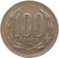 reverse of 100 Pesos (1981 - 2000) coin with KM# 226 from Chile. Inscription: 100 PESOS 2000