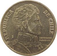 obverse of 10 Pesos (1990 - 2014) coin with KM# 228 from Chile. Inscription: REPUBLICA DE CHILE So LIBERTADOR B O'HIGGINS R.THENOT