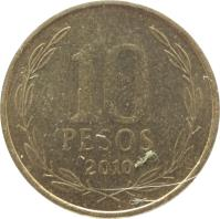 reverse of 10 Pesos (1990 - 2014) coin with KM# 228 from Chile. Inscription: 10 PESOS 2006