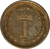 reverse of 1 Penny - George VI - Maundy Coinage (1949 - 1952) coin with KM# 870 from United Kingdom. Inscription: 19 1 52