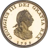 obverse of 1 Farthing - George III (1799) coin with KM# 646a from United Kingdom. Inscription: GEORGIUS III DEI GRATIA REX 1799