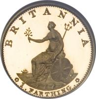 reverse of 1 Farthing - George III (1799) coin with KM# 646a from United Kingdom. Inscription: BRITANNIA SOHO 1.FARTHING.