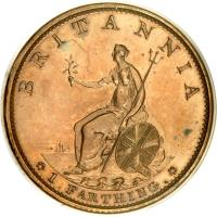 reverse of 1 Farthing - George III (1799) coin with KM# 646b from United Kingdom. Inscription: BRITANNIA SOHO 1.FARTHING.