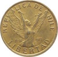obverse of 10 Pesos (1981 - 1990) coin with KM# 218 from Chile. Inscription: REPUBLICA DE CHILE 11-IX 1973 So LIBERTAD