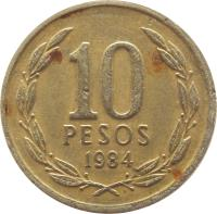 reverse of 10 Pesos (1981 - 1990) coin with KM# 218 from Chile. Inscription: 10 PESOS 1984