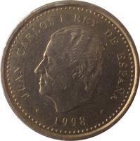 obverse of 100 Pesetas - Juan Carlos I - Denomination 100 (1998 - 2000) coin with KM# 989 from Spain. Inscription: JUAN CARLOS I REY DE ESPAÑA · 1998 ·