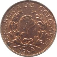 obverse of 1 Centavo (1967 - 1978) coin with KM# 205a from Colombia. Inscription: REPUBLICA DE COLOMBIA 1967