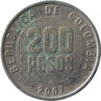 reverse of 200 Pesos (1994 - 2012) coin with KM# 287 from Colombia. Inscription: REPUBLICA DE COLOMBIA 200 PESOS 2007