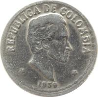 obverse of 20 Centavos (1956 - 1966) coin with KM# 215 from Colombia. Inscription: REPUBLICA DE COLOMBIA 1959