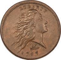obverse of 1 Cent - Flowing Hair Cent; Wreath reverse (1793) coin with KM# 12 from United States. Inscription: LIBERTY 1793