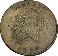 obverse of 1 Cent - Flowing Hair Cent; Chain reverse (1793) coin with KM# 11 from United States. Inscription: LIBERTY 1793