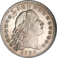 obverse of 5 Cents - Flowing Hair Half Dime (1794 - 1795) coin with KM# 15 from United States. Inscription: LIBERTY 1794
