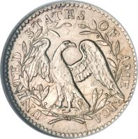 reverse of 5 Cents - Flowing Hair Half Dime (1794 - 1795) coin with KM# 15 from United States. Inscription: UNI TED STATES OF AME RICA