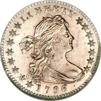obverse of 1/2 Dime - Draped Bust Half Dime; Small eagle (1796 - 1797) coin with KM# 23 from United States.