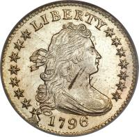 obverse of 1 Dime - Draped Bust Dime; Small eagle (1796 - 1797) coin with KM# 24 from United States.