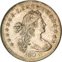 obverse of 1/2 Dime - Draped Bust Half Dime; Heraldic eagle (1800 - 1805) coin with KM# 34 from United States.