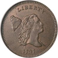 obverse of 1/2 Cent - Liberty Cap Half Cent (1794 - 1797) coin with KM# 14 from United States.