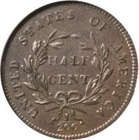 reverse of 1/2 Cent - Liberty Cap Half Cent (1794 - 1797) coin with KM# 14 from United States.