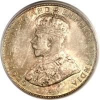 obverse of 50 Cents - George V (1911 - 1919) coin with KM# 18 from Belize. Inscription: · GEORGE V KING AND EMPEROR OF INDIA