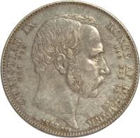 obverse of 2 Rigsdaler - Christian IX - Death and Accession (1863) coin with KM# 770 from Denmark. Inscription: CHRISTIAN IX	KONGE AF DANMARK MED GUD	FOR ÆRE OG RET H.C 1863 RH