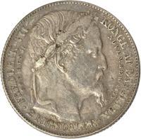 reverse of 2 Rigsdaler - Christian IX - Death and Accession (1863) coin with KM# 770 from Denmark. Inscription: FREDERIK VII DOD DEN 15NOVEMBER 1863 F.K * 2 RIGSDALER *