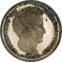 obverse of 16 Rigsbankskilling / 5 Schilling Courant - Christian VIII (1842 - 1844) coin with KM# 733 from Denmark. Inscription: CHRISTIANVS VIII	D:G:DANIÆ V:G:REX F.K. ♔ 1842 V.S.