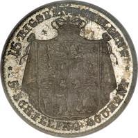 reverse of 16 Rigsbankskilling / 5 Schilling Courant - Christian VIII (1842 - 1844) coin with KM# 733 from Denmark. Inscription: 16 RIGSBANKSKILLING ** 5 SCHILLING COURANT