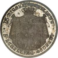 reverse of 16 Rigsbankskilling / 5 Schilling Courant - Christian VIII (1842 - 1844) coin with KM# 733 from Denmark. Inscription: 16 RIGSBANKSKILLING *	* 5 SCHILLING COURANT