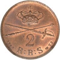 reverse of 2 Rigsbankskilling - Christian VIII (1842) coin with KM# 728 from Denmark. Inscription: 2 1842 R:B:S ♔ V.S