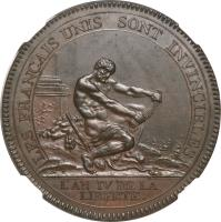 obverse of 5 Sols (1792) coin with KM# Tn35 from France. Inscription: LES FRANÇAIS UNIS SONT INVINCIBLES L'AN IV DE LA LIBERTÉ