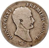 obverse of 2 Francs - Napoleon I (1803) coin with KM# 657 from France. Inscription: BONAPARTE PREMIER CONSUL. Tiolier