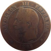 obverse of 10 Centimes - Napoleon III (1861 - 1868) coin with KM# 798 from France. Inscription: NAPOLEON III EMPEREUR BARRE 1865