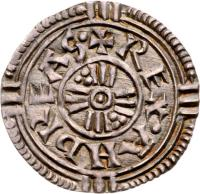 obverse of 1 Denar - András I (1046 - 1060) coin with EH# 5 from Hungary. Inscription: REX ANDREAS