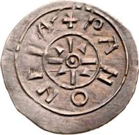 reverse of 1 Denar - András I (1046 - 1060) coin with EH# 5 from Hungary. Inscription: PANONEA