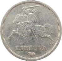 obverse of 5 Litai - Jonas Basanavičius (1936) coin with KM# 82 from Lithuania. Inscription: LIETUVA 1936