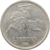 obverse of 5 Litai - Jonas Basanavičius (1936) coin with KM# 82 from Lithuania. Inscription: LIETUVA 1936
