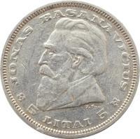 reverse of 5 Litai - Jonas Basanavičius (1936) coin with KM# 82 from Lithuania. Inscription: JONAS BASANAVIČIUS J.Z. 5 LITAI