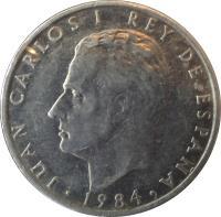 obverse of 2 Pesetas - Juan Carlos I (1982 - 1984) coin with KM# 822 from Spain. Inscription: JUAN CARLOS I REY DE ESPAÑA 1984