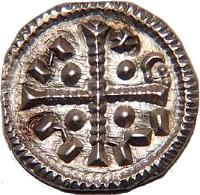 obverse of 1 Denar - Coloman (1095 - 1116) coin with EH# 31 from Hungary.
