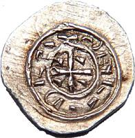 reverse of 1 Denar - Coloman (1095 - 1116) coin with EH# 31 from Hungary.