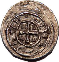 reverse of 1 Denar - Coloman (1095 - 1116) coin with EH# 33 from Hungary.